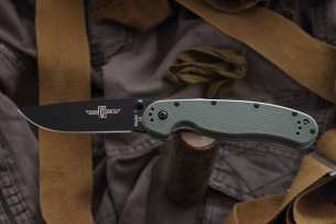 Ontario Нож складной RAT-1 Black Blade Olive Drab Handle