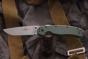Ontario Нож складной RAT-1 Stone Wash Blade Olive Drab Handle