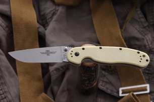 Ontario Нож складной RAT-1 Stone Wash Bladе Desert Tan Handle