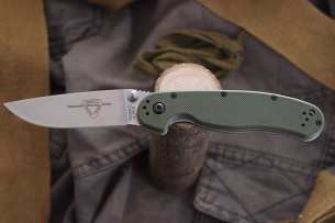 Ontario Нож складной RAT-2 Stone Wash Blade Olive Drab Handle