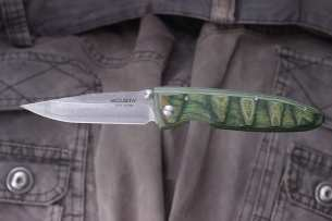 Mcusta Damascus Basic Folder Green