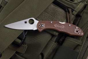 Spyderco Delica Flat Ground Brown C11FPBN